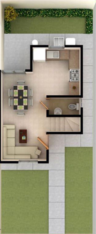 Planos de casas de 6 18 for Casas alargadas