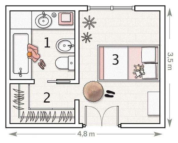 Medidas minimas para habitacion individual for Cuarto 4x4 metros