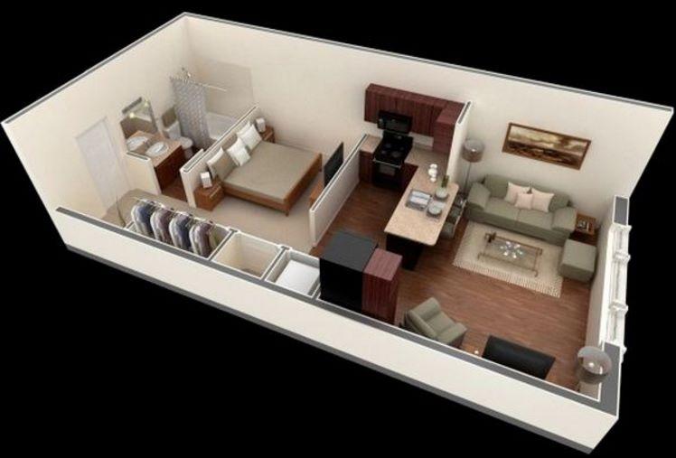 Distribución en apartamentos de 30 metros cuadrados