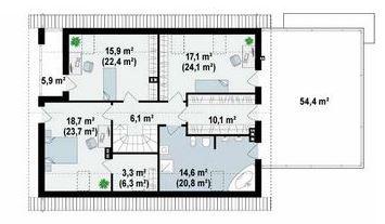Plano de casa de 10 x 20 m en dos plantas