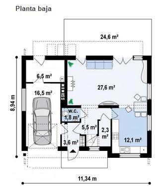 Plano de casa de 11 x 9 m