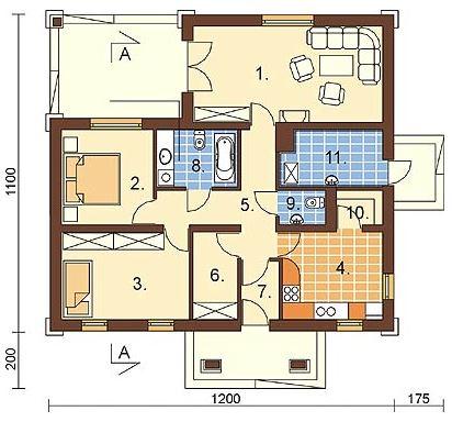 Plano de casa de 14 x 13 m