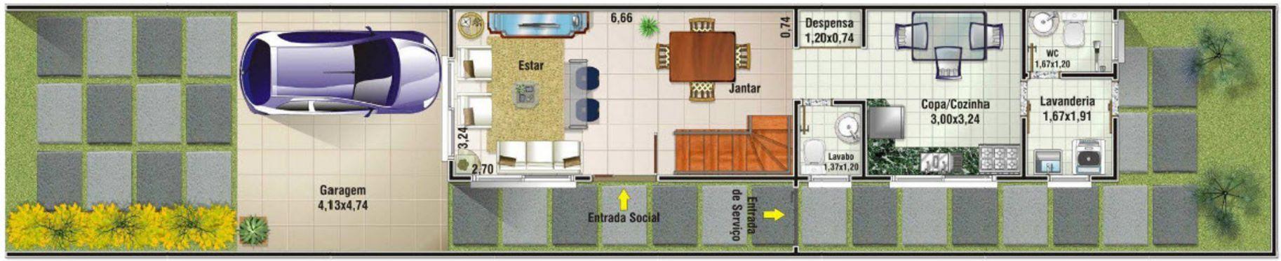 planos de casas finas y largas