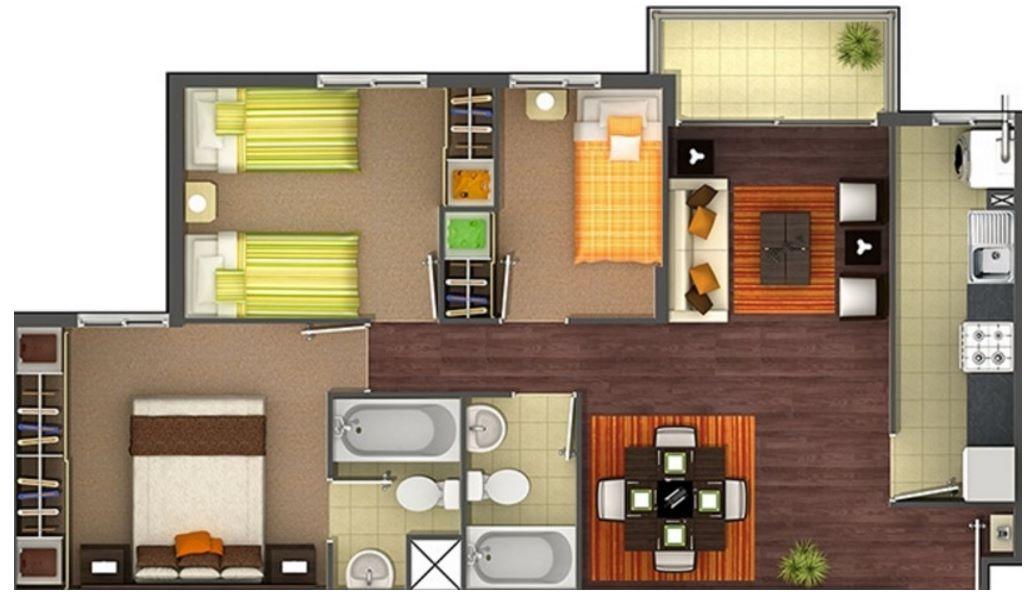 plano de departamento de 70 metros cuadrados en un terreno
