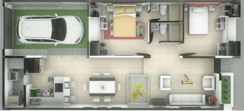 Plano de departamento terreno de 7×10