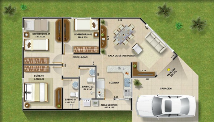 Plano de casa sencilla con medidas en metros for Planos de casas de tres dormitorios en una planta