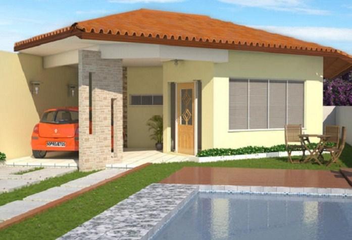 Plano de vivienda moderna de tres dormitorios