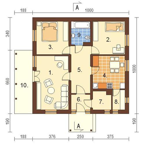 Planos de casas de 10 × 10 metros