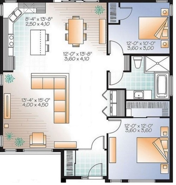 Planos de casas sencillas de un piso y 2 dormitorios for Plano casa un piso