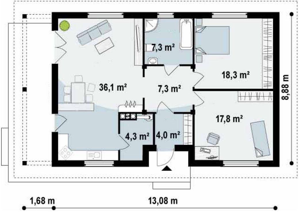 Plano de casa sencilla con medidas en metros planos y casas - Casas de dos plantas sencillas ...