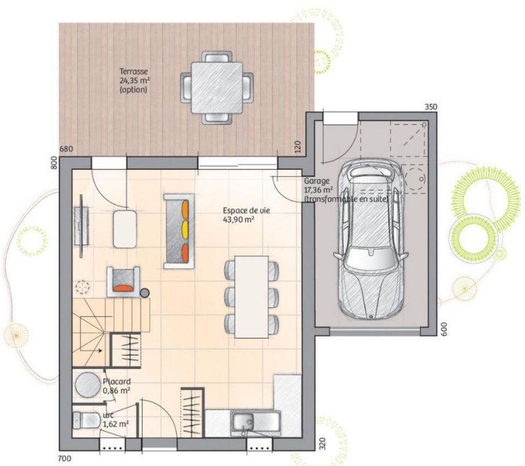 planos para una casa plano de casa de dos dormitorios