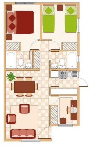 Ver modelos de casas de 60 a 70 metros cuadrados for Piso 60 metros cuadrados