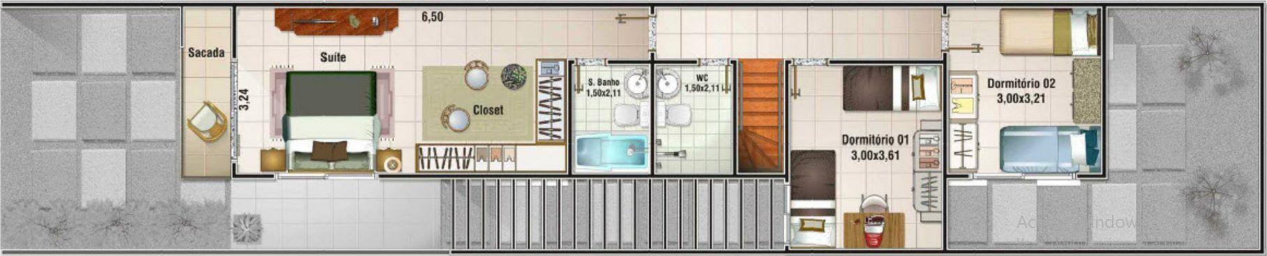 planos de casas angostas y alargadas