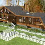 Casa de madera con bases de hormigón