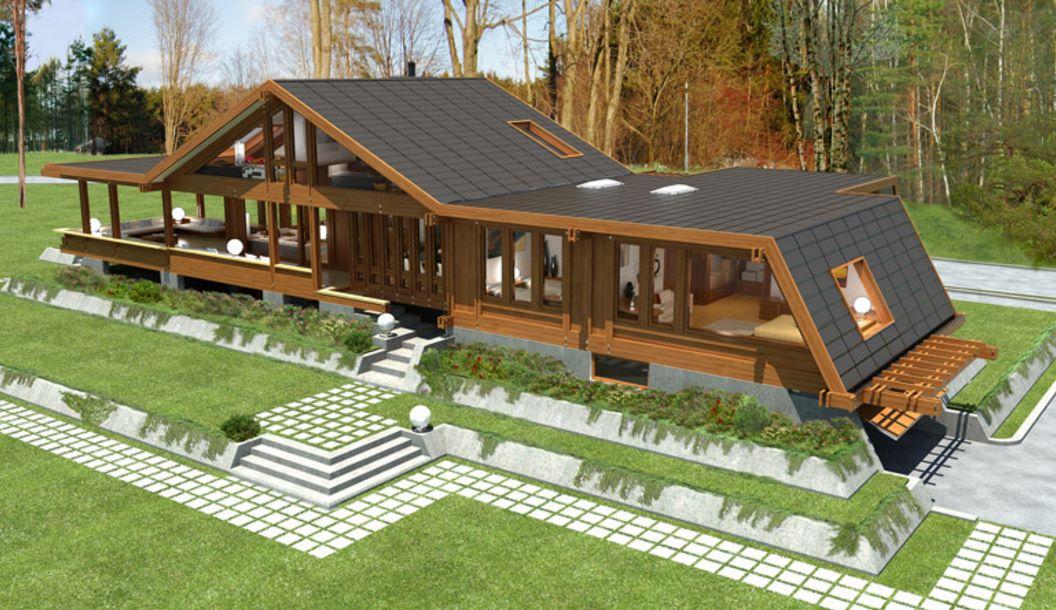 Casa de madera con bases de hormig n for Modelos de casas de madera de un piso