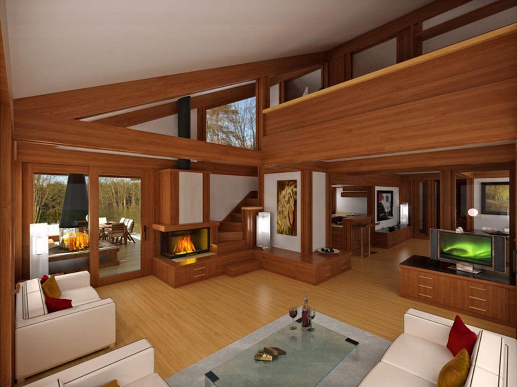 Casa de madera con bases de hormigón interior