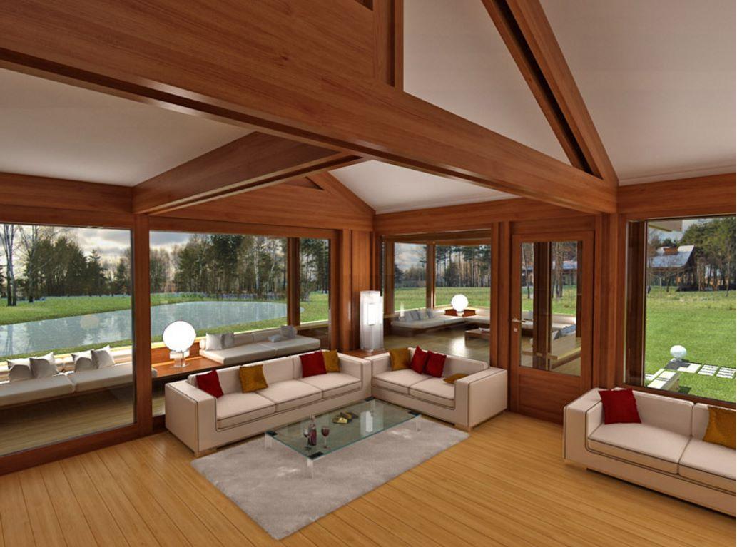 casa de madera con bases de hormig n ForInterior De La Casa De Madera Moderna