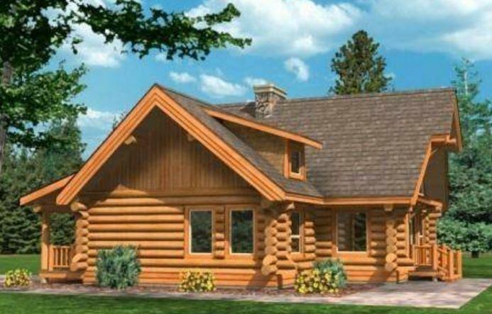 Casa de troncos hecha con madera