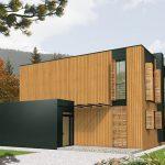 Casa moderna con revestimiento en madera
