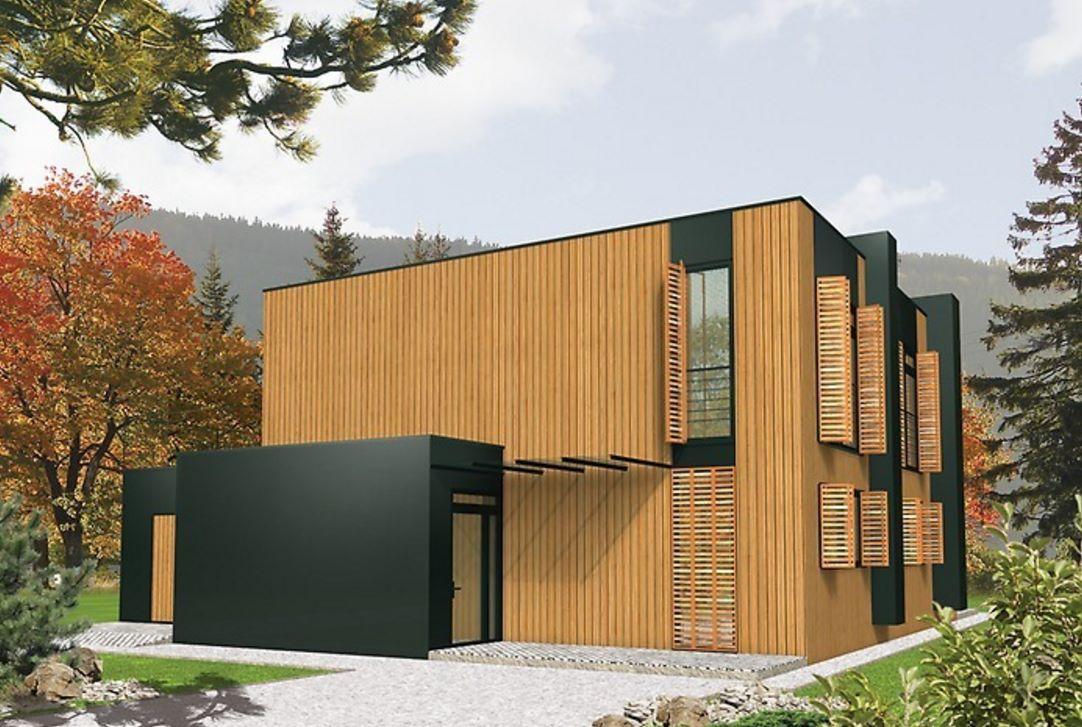 Casa moderna planos planos y casas - Revestimiento de madera ...