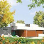 Plano de casa con cochera doble y estilo moderno