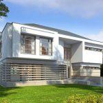 Casa grande de 2 pisos con estilo moderno