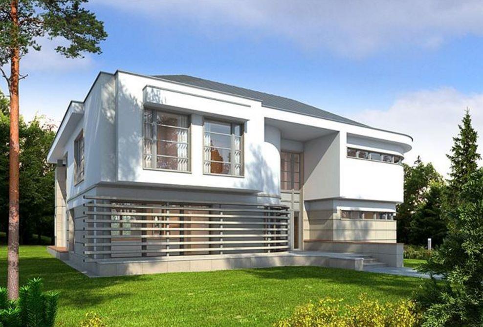 Fachada de casa grande de 2 pisos con estilo moderno