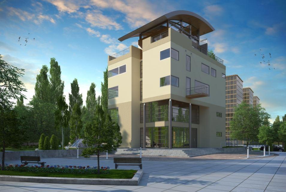 Fachadas para edificio de cuatro pisos modernos