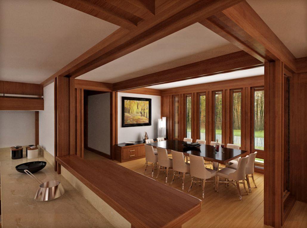 Interior de casa de madera