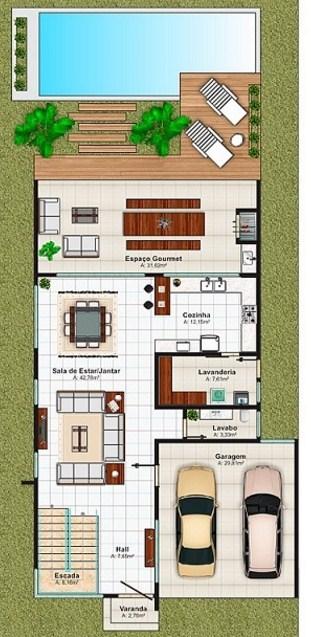 Modelo de casa con segundo piso y 3 dormitorios