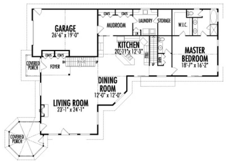 Plano de cabaña con 3 dormitorios