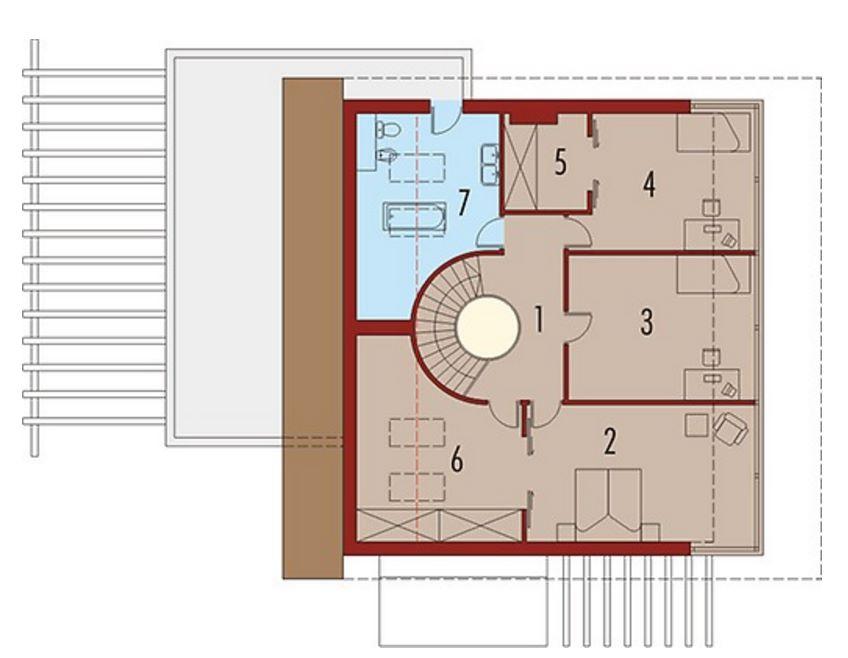 Plano de casa con el techo curvado