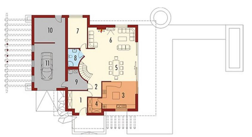 Plano de casa con techo curvo