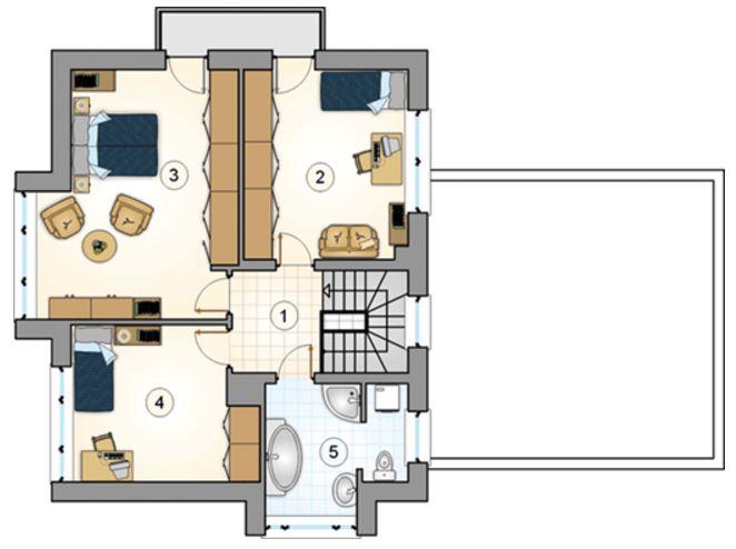 Plano de casa moderna con forma irregular