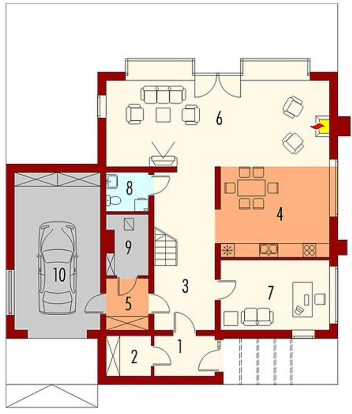 Plano de casa moderna con revestimiento en madera