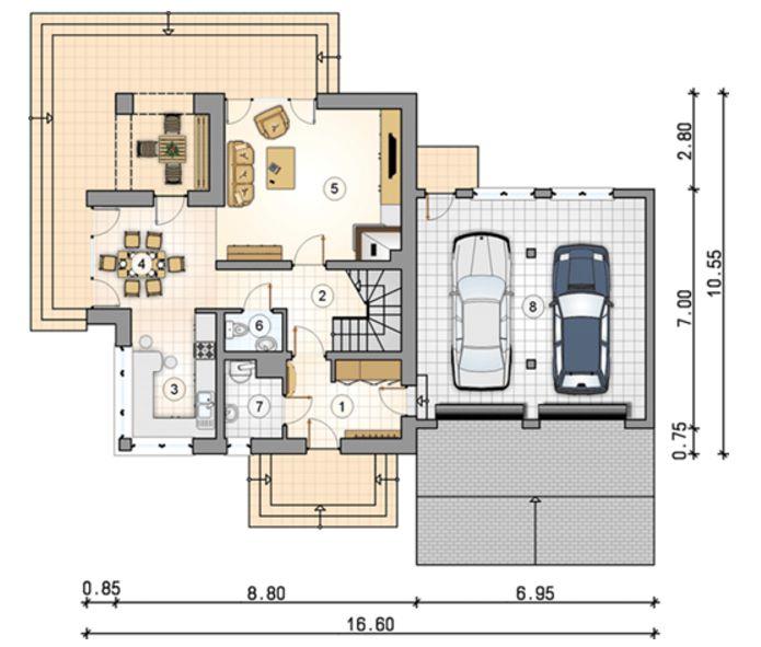 Plano de casa irregular for Planos para casas de dos pisos modernas