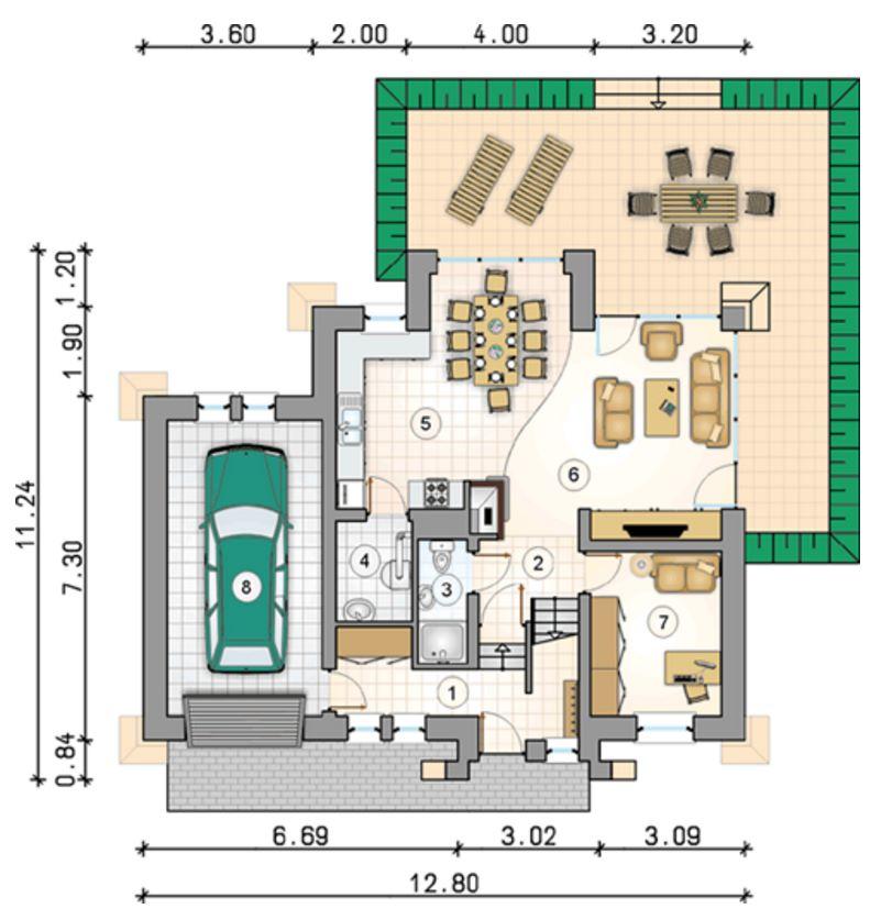 Plano de casa rustica y bonita