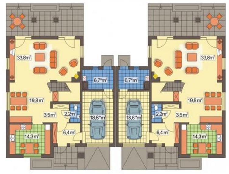 Plano de duplex en condominio