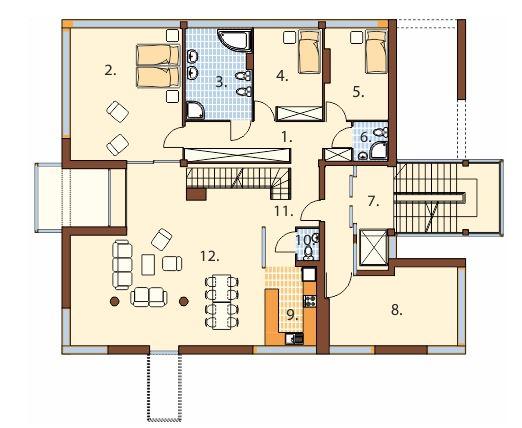 Plano de edificio de 4 pisos con departamento