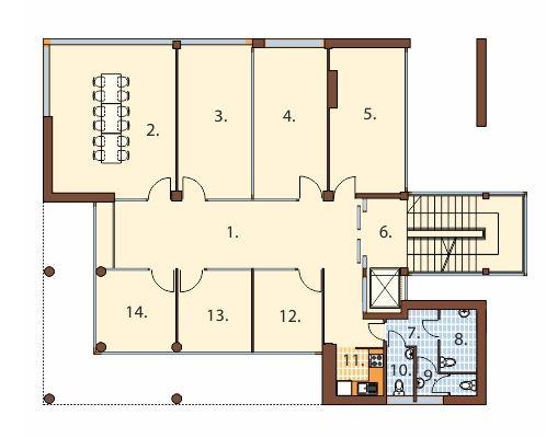 Plano de edificio de 4 pisos for Planos de oficinas administrativas
