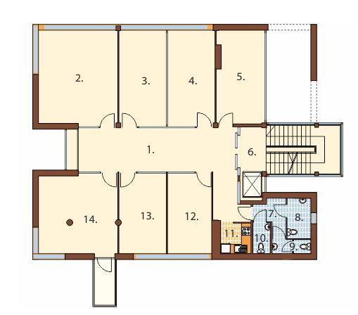 Plano de edificio de oficinas de 4 pisos