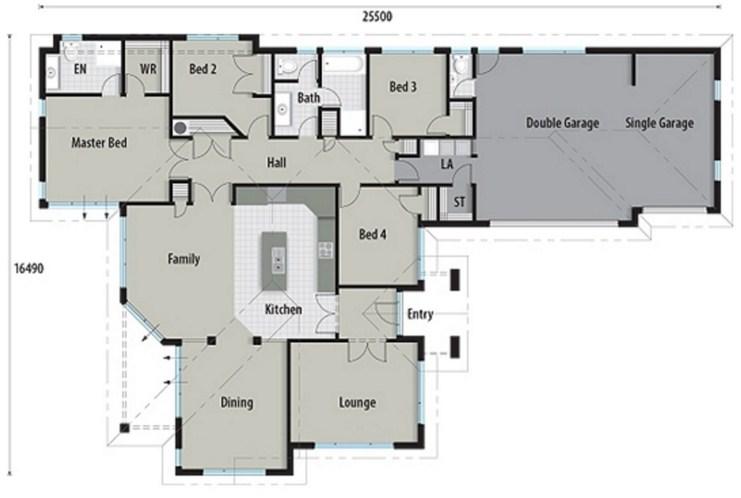 Plano de casa grande de cuatro dormitorios for Modelos de casas de una sola planta