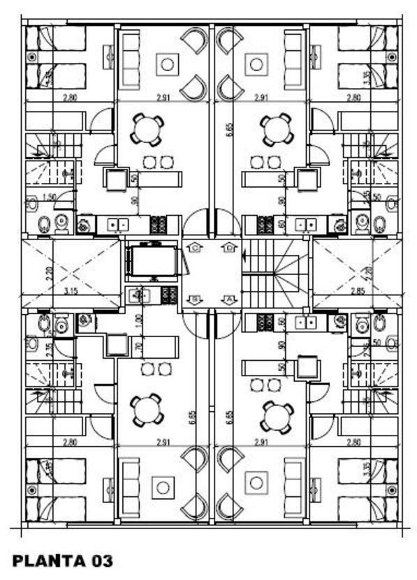 Modelos de departamentos de 2 dormitorios for Edificio de departamentos planos