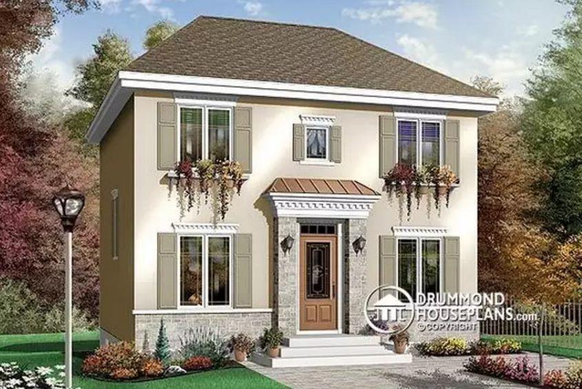Casa clásica de 2 pisos