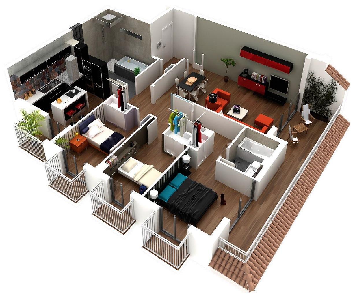 Departamento con 3 dormitorios y balcones