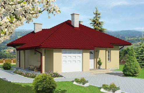 Fachada de casa de 11 x 13 m