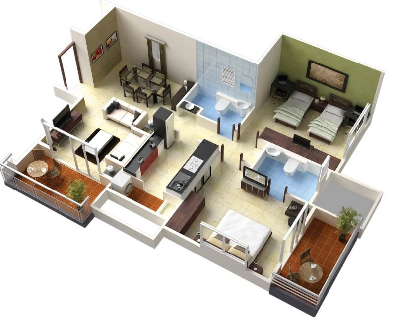 Modelos de apartamentos de 2 habitaciones for Modelos de mini apartamentos