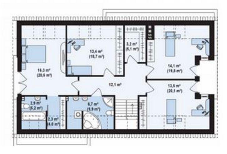 Plano de 5 dormitorios