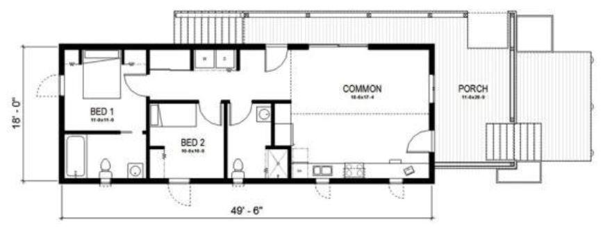 Plano de casa angosta para terreno largo