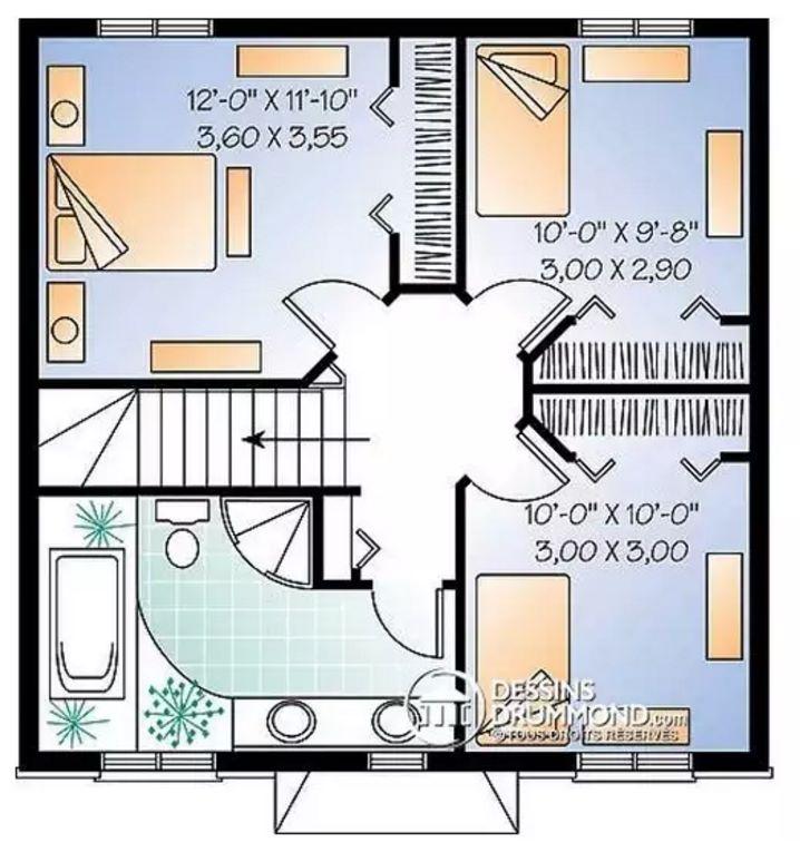 Plano de casa clásica de 2 pisos